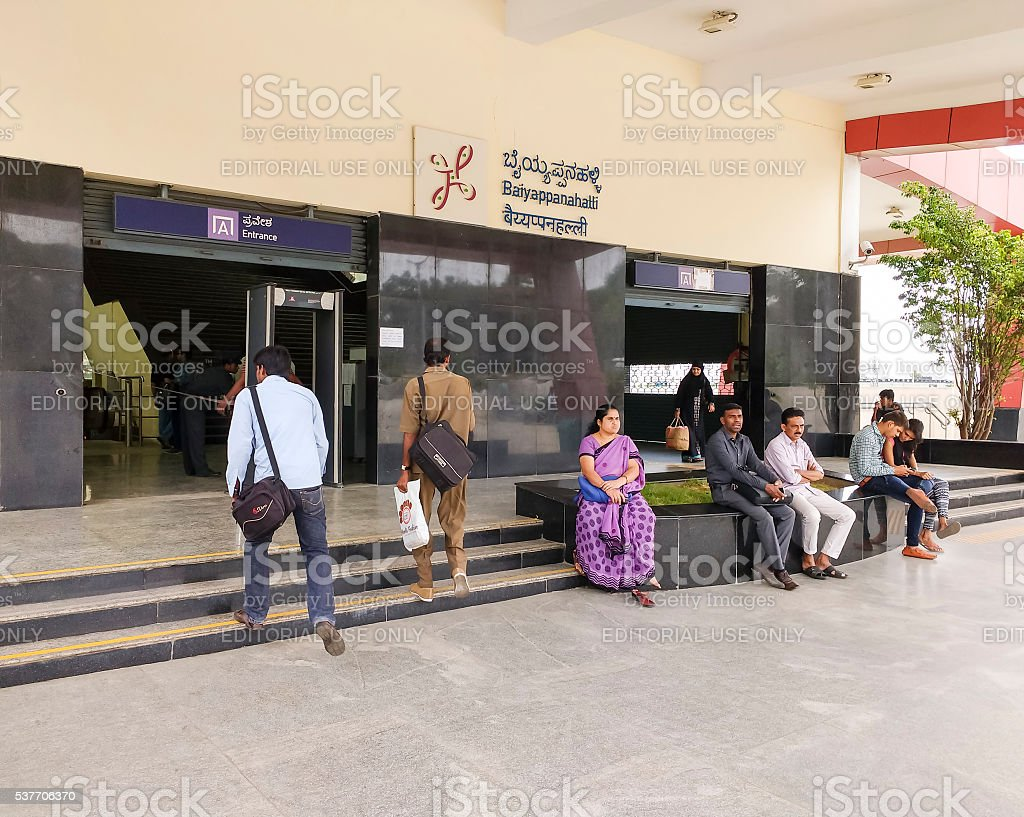 Passengers enter Bangalore Metro station, India stock photo