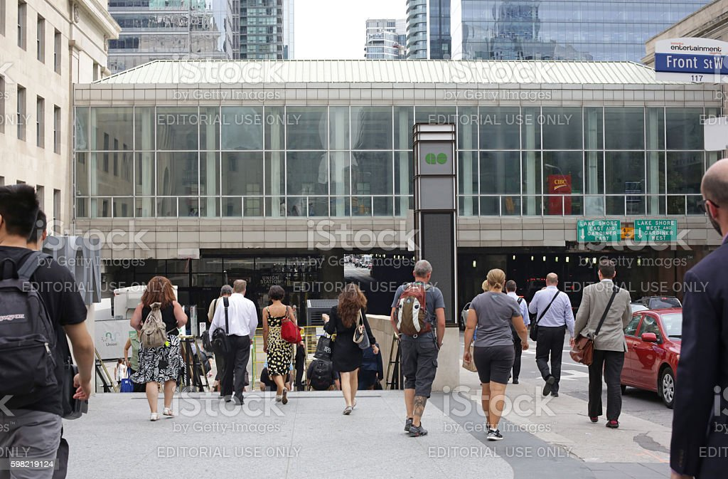 Passengers Enter Toronto Union Station. Front Street at Rush Hour stock photo