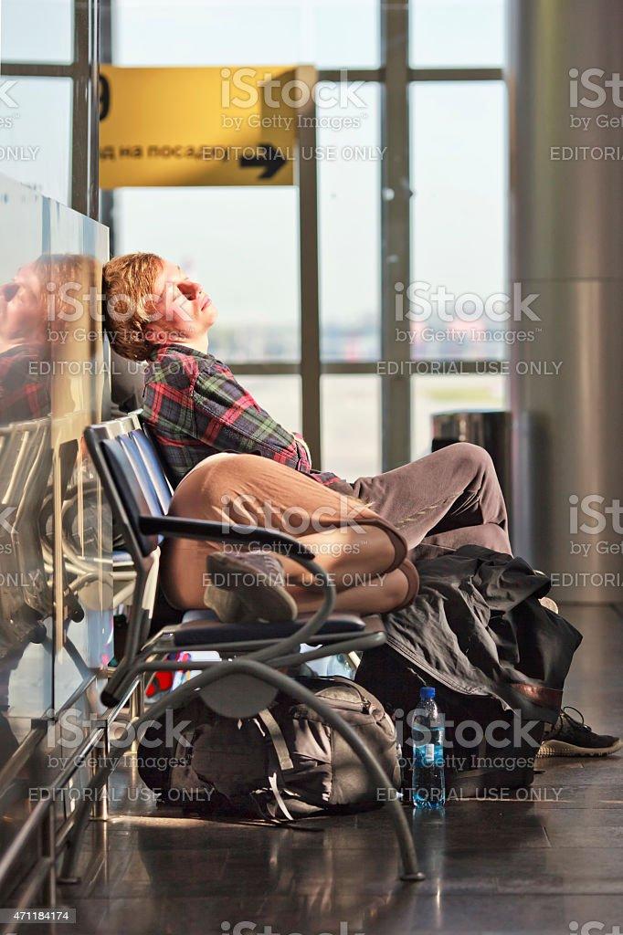 Passengers getting tired of waiting stock photo
