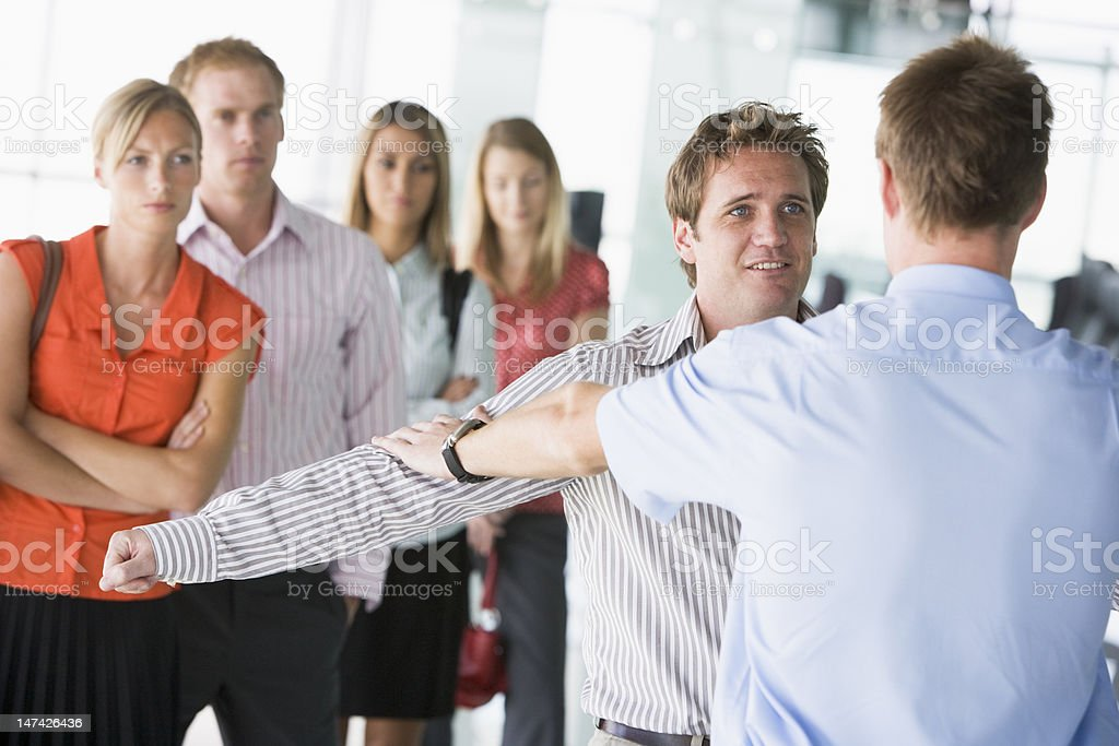 Passengers going through airport security check stock photo