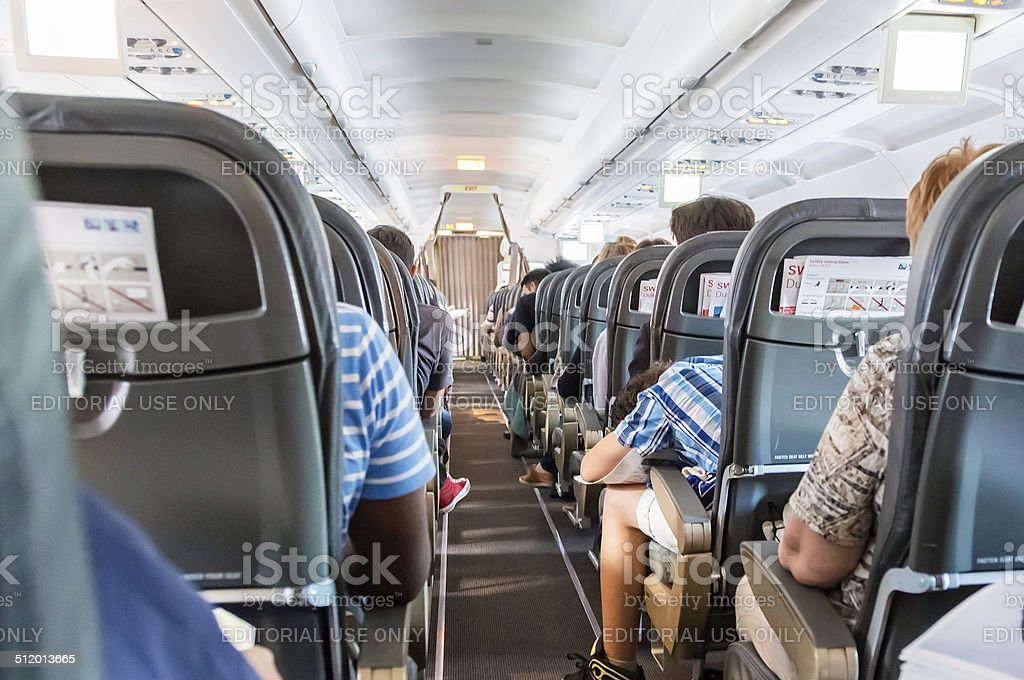Passengers in a aeroplane stock photo
