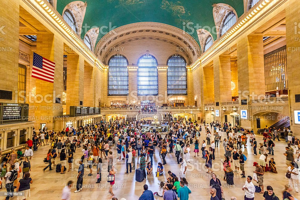passengers in Grand Central Station, New York stock photo