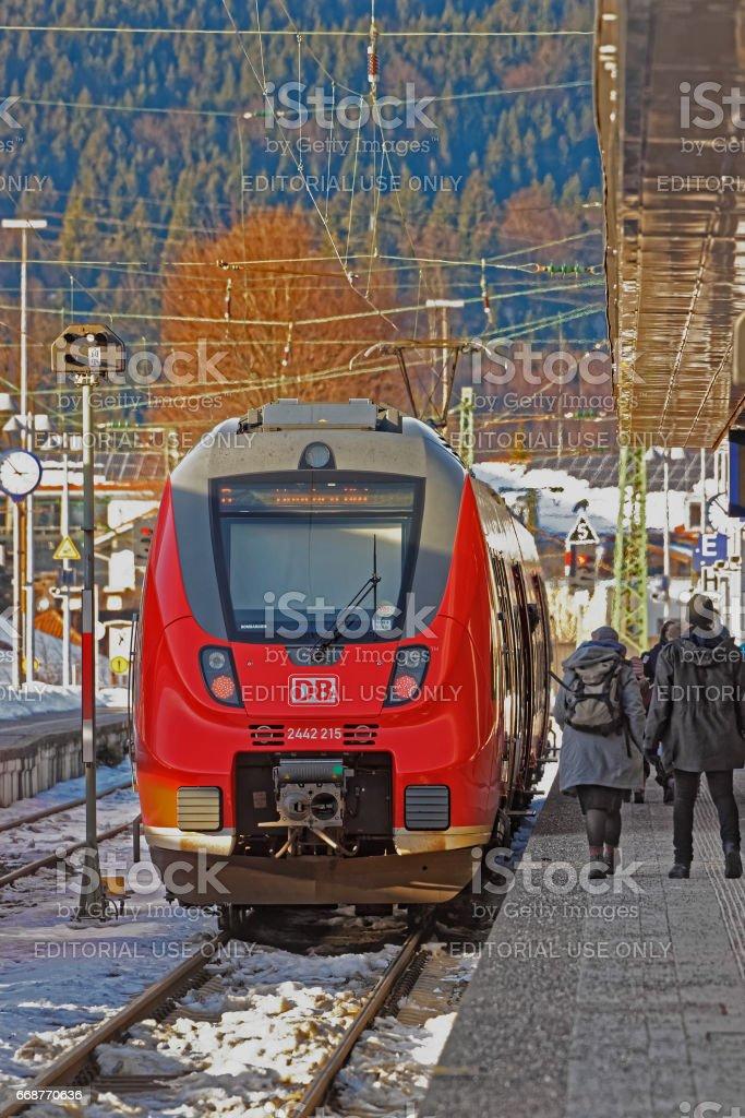 Passengers in high speed train at Garmisch Partenkirchen Germany stock photo