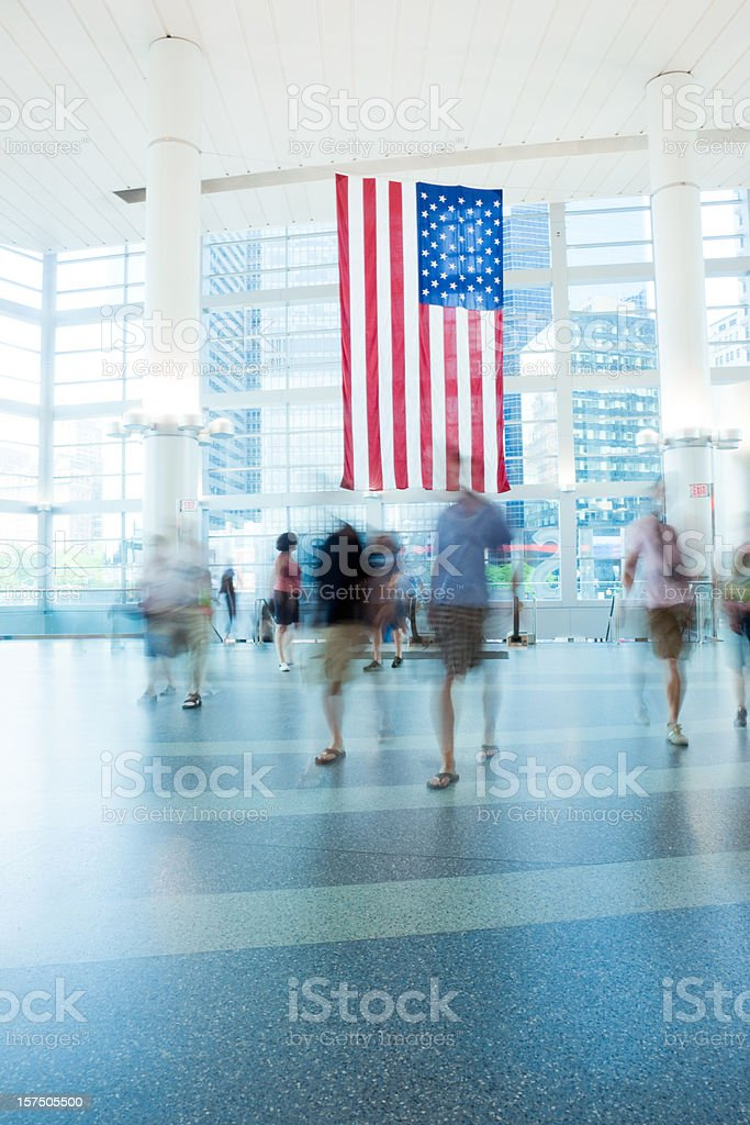 NYC Passengers in Modern Glass Building royalty-free stock photo