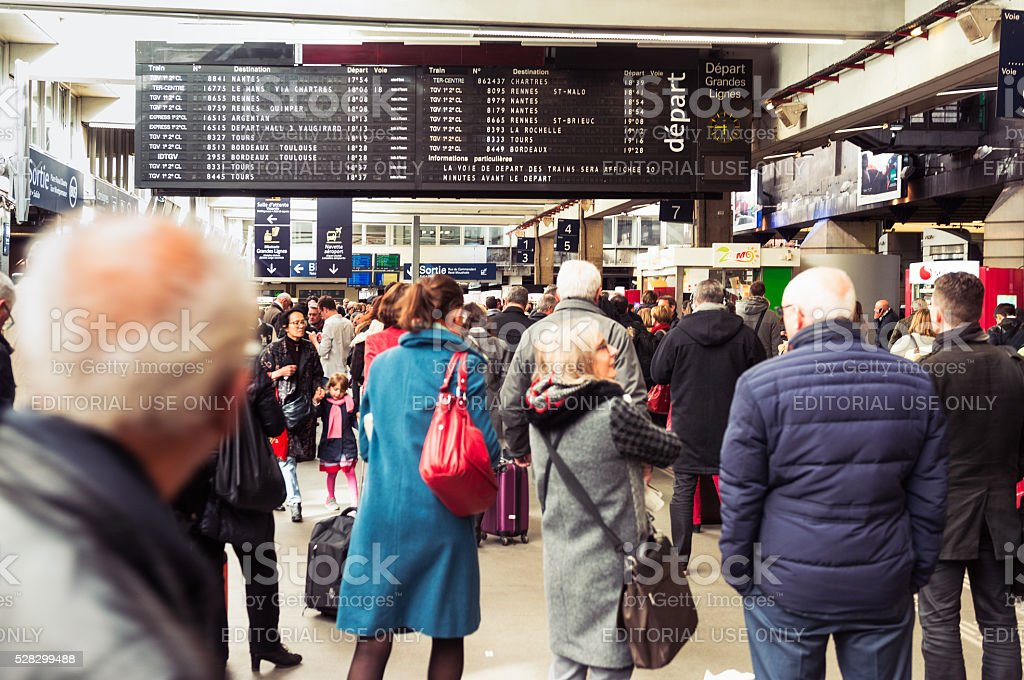 Passengers in Montparnasse train station in Paris stock photo