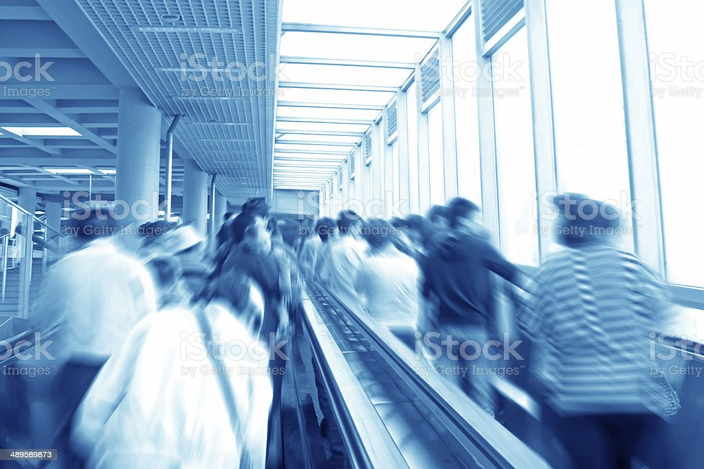 passengers in the subway station stock photo