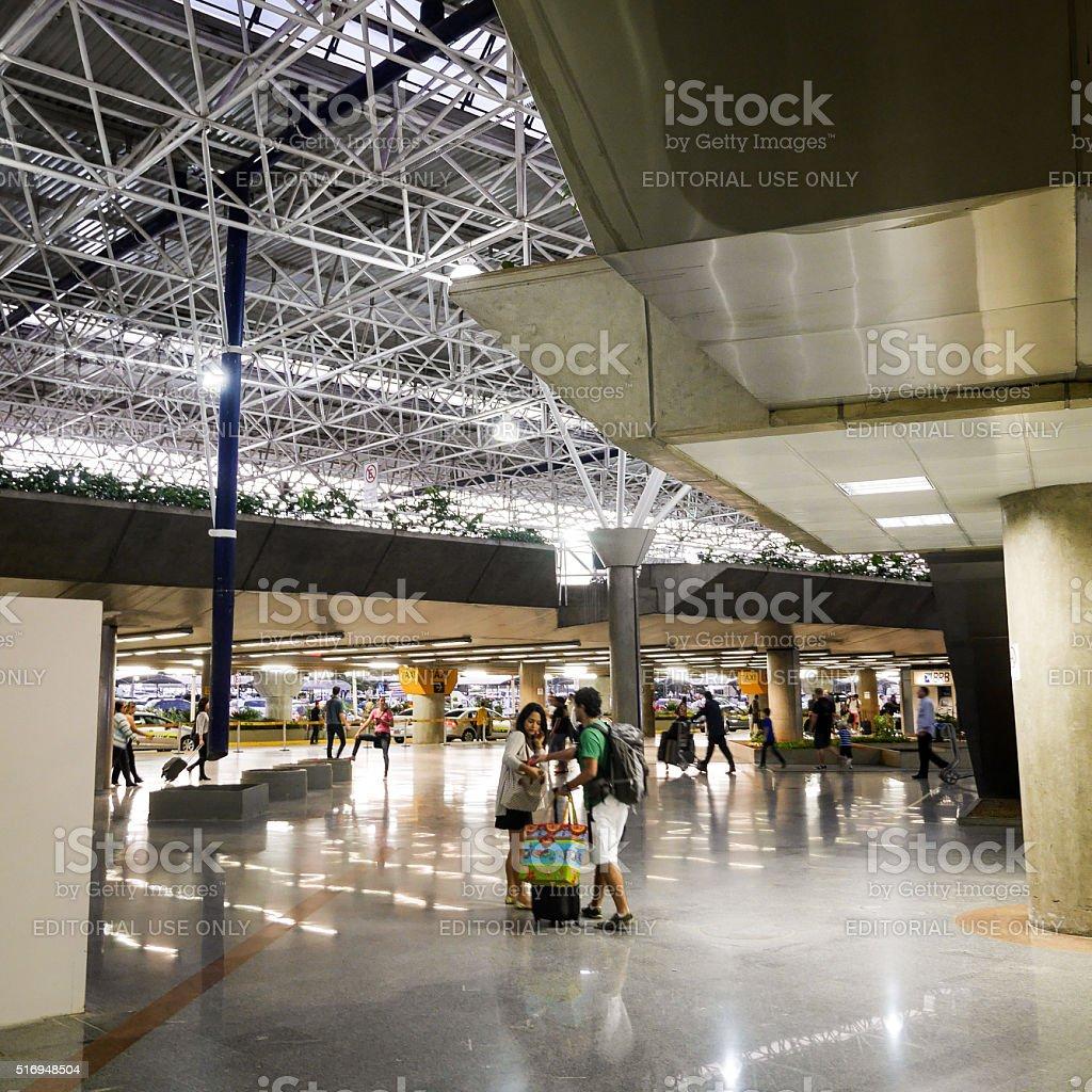 Passengers leaving Brasilia International Airport, Brazil stock photo