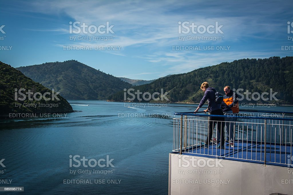 Passengers on ferry through Marlborough Sounds, New Zealand stock photo