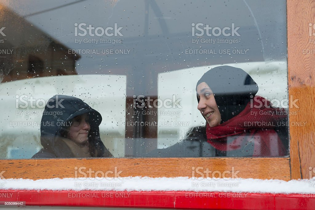 Passengers on Istiklal Avenue tram - Istanbul, Turkey stock photo