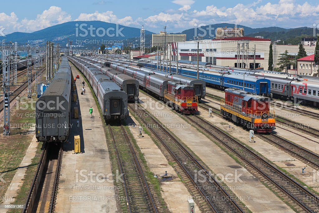 Passengers trains at the marshalling yard Adler, Sochi, Krasnodar region stock photo