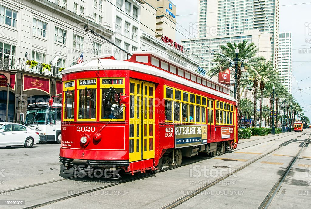 passengers travel with the street car downtown New Orleans stock photo