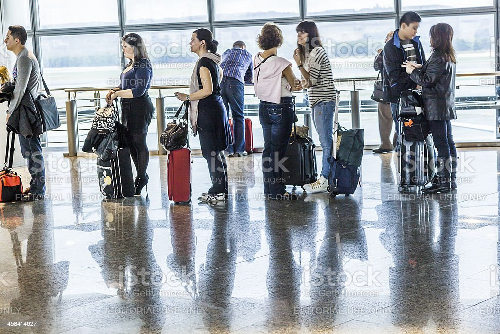 passengers wait for Departure in Madris Airport due to delay stock photo