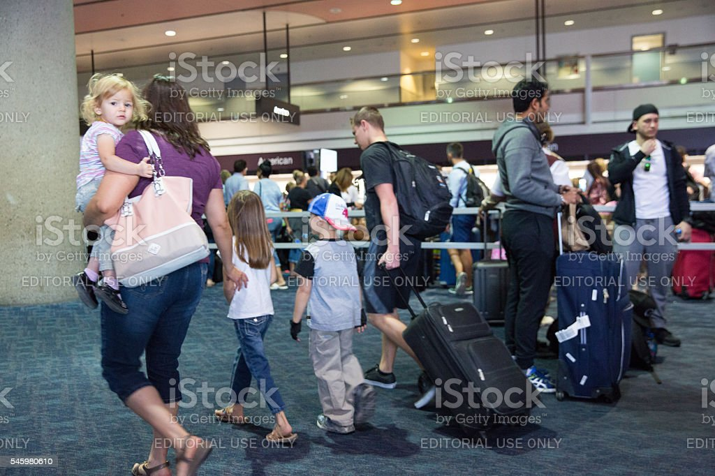 Passengers wait in long lines at airport in Las Vegas stock photo