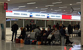 Passengers waiting at Ankara railway station new terminal