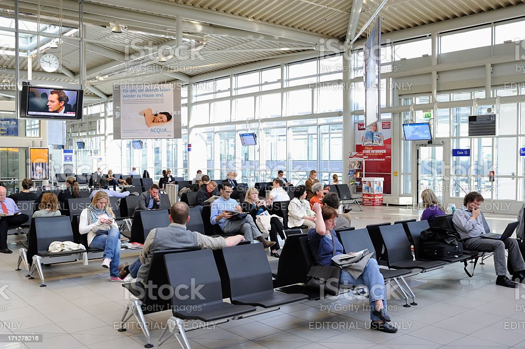 Passengers Waiting at Leipzig/Halle Airport stock photo