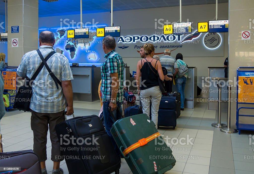 Passengers waiting for registration stock photo
