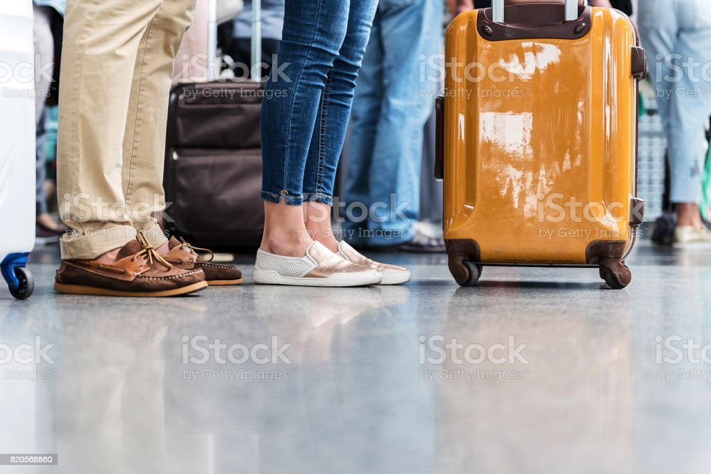 Passengers waiting for their plane stock photo