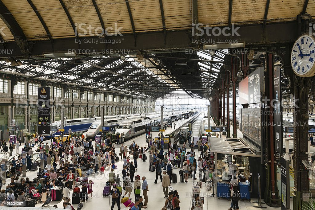 Passengers waiting for trains at Gare de Lyon Station stock photo