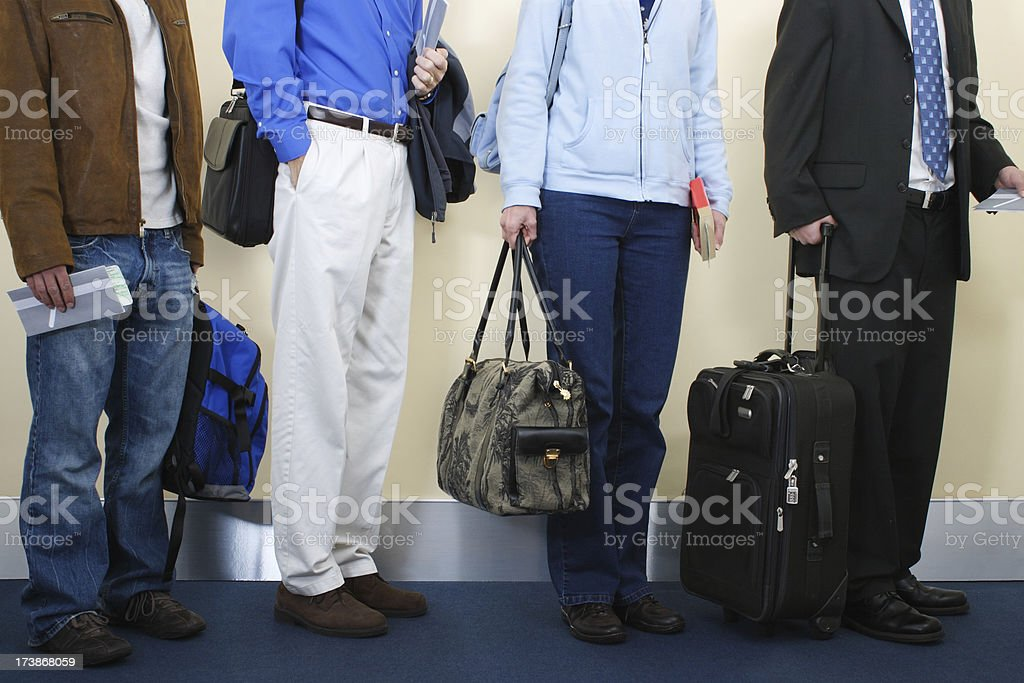 Passengers Waiting To Board Airplane royalty-free stock photo