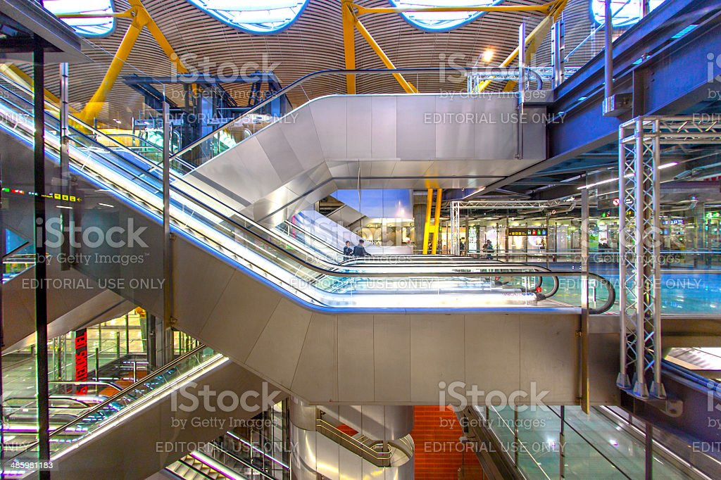 Passengers walk at the new terminal T4 in Madrid stock photo
