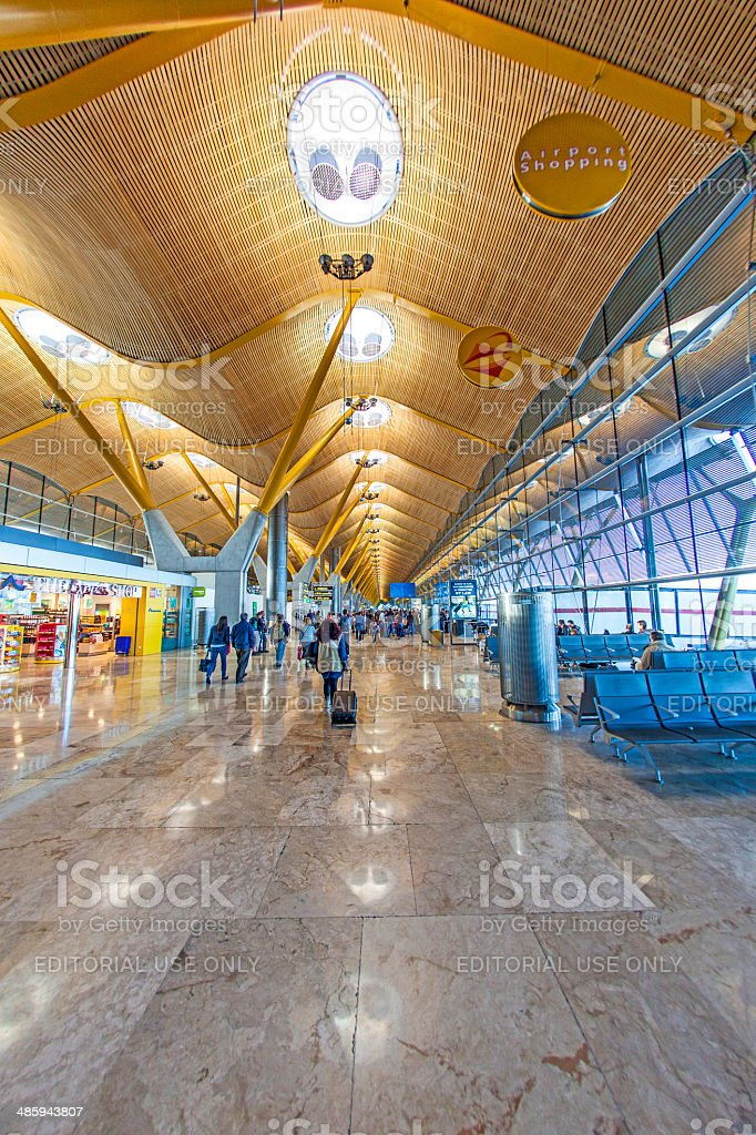 Passengers walk by at the new terminal  at Barajas airport stock photo