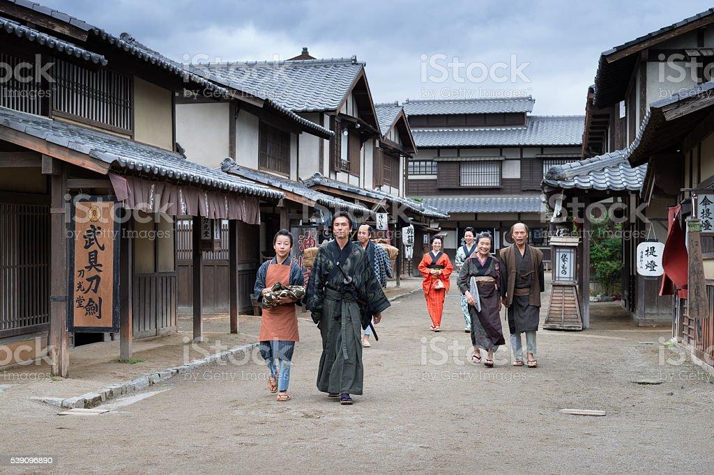 Passer in the Edo town stock photo
