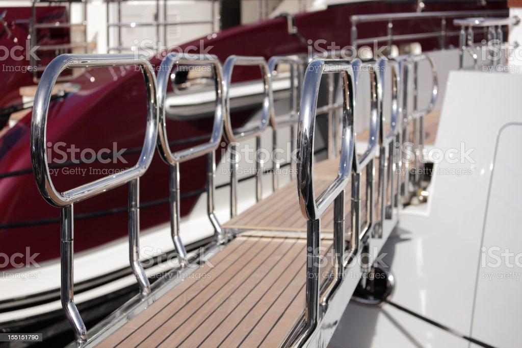 Passerelle on luxury yacht stock photo