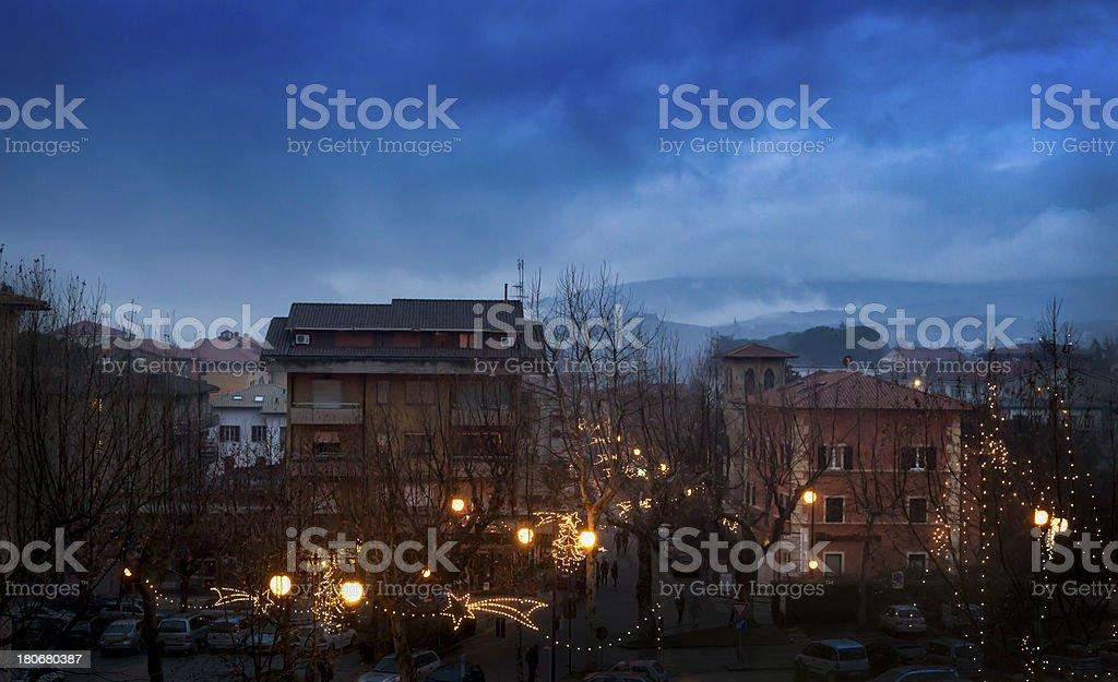Passignano at Lake Trasimeno in christmas time stock photo