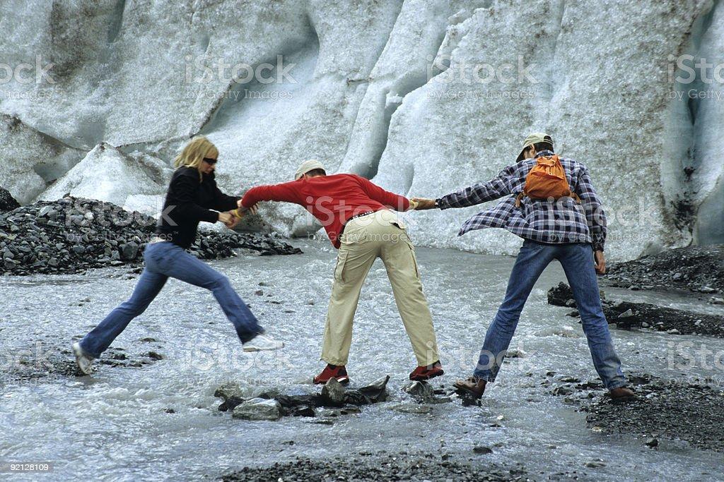 Passing a frozen stream, Exit Glacier, Alaska stock photo