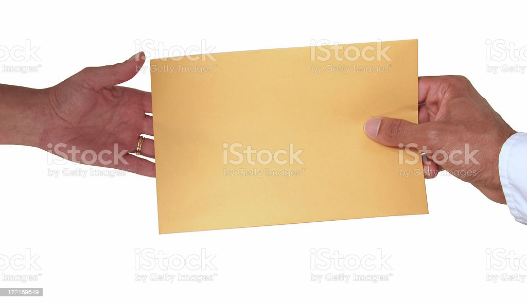 Passing an Envelope / Note stock photo