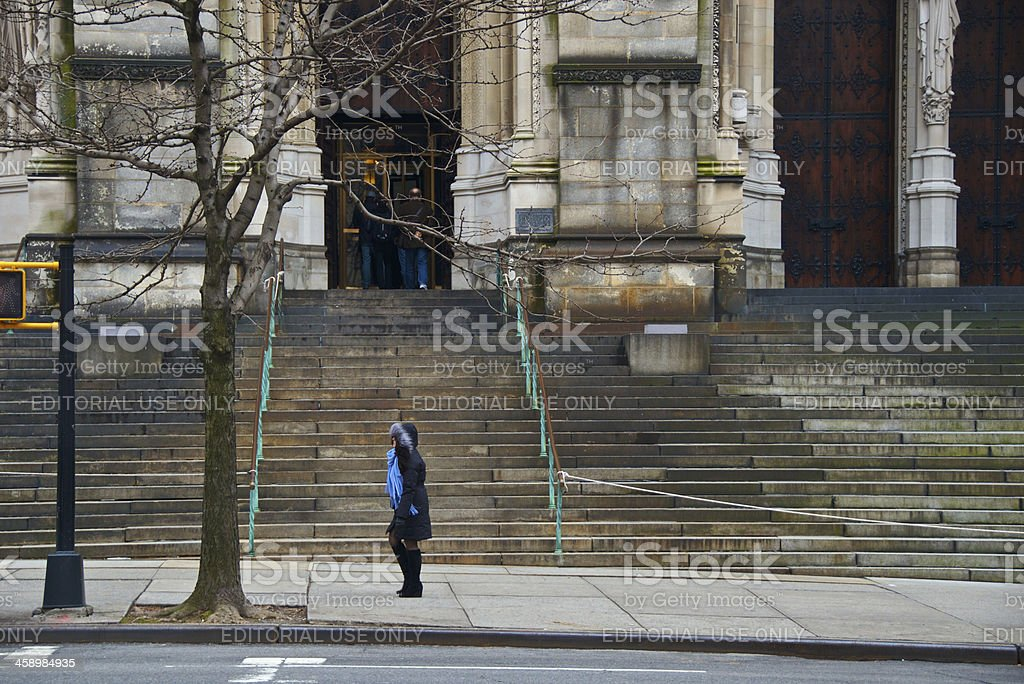 Passing by Cathedral, St. John the Divine, New York City royalty-free stock photo