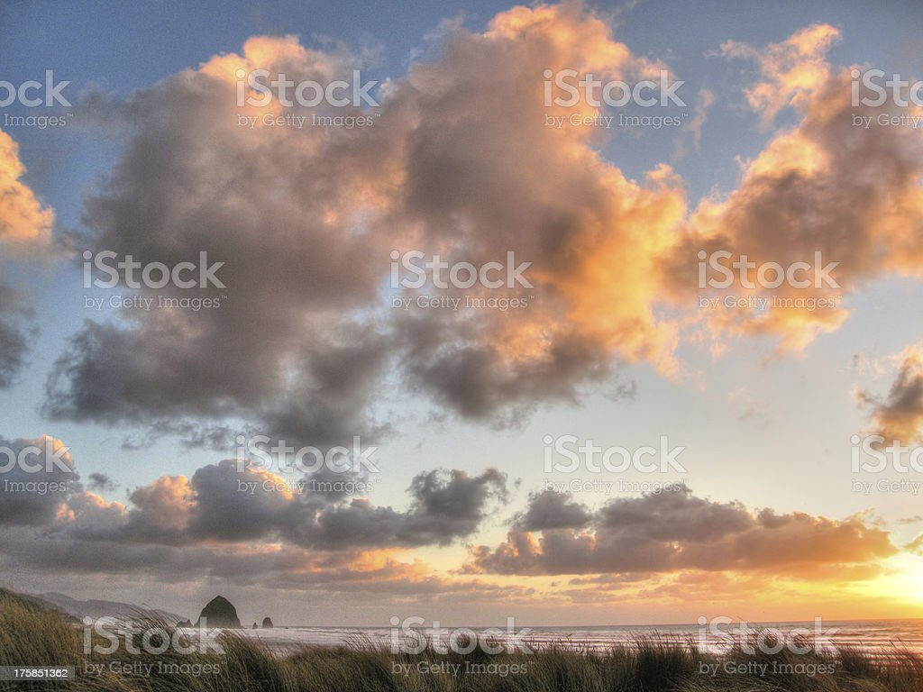 passing clouds over haystack royalty-free stock photo