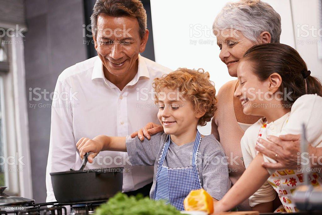Passing down family recipe secrets royalty-free stock photo