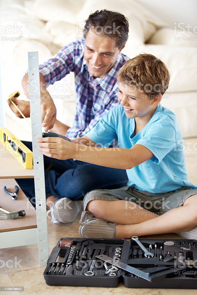 Passing on some manly knowledge stock photo