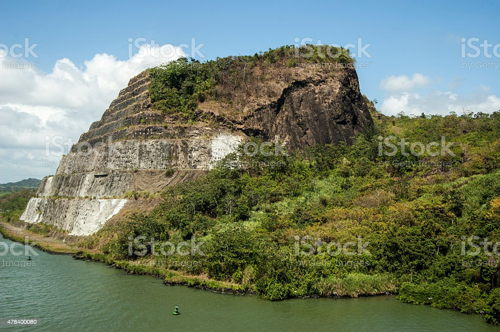 Passing Panama Canal, view of the hills stock photo