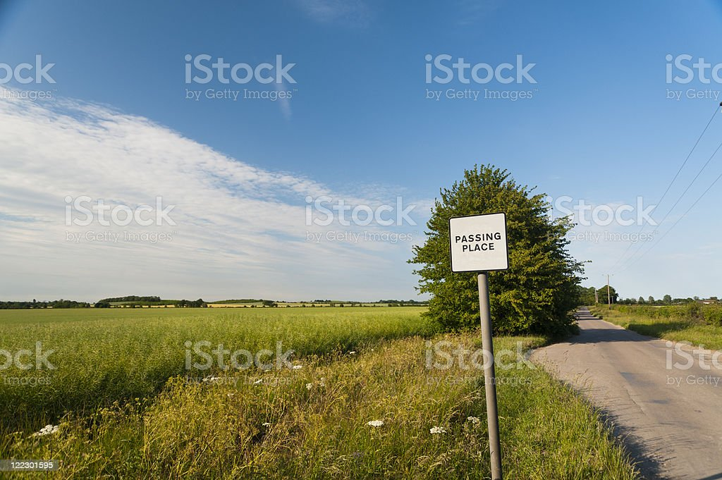 Passing Place - Road sign stock photo