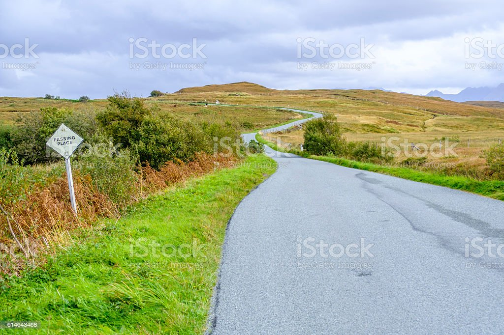 Passing place sign in Skye stock photo