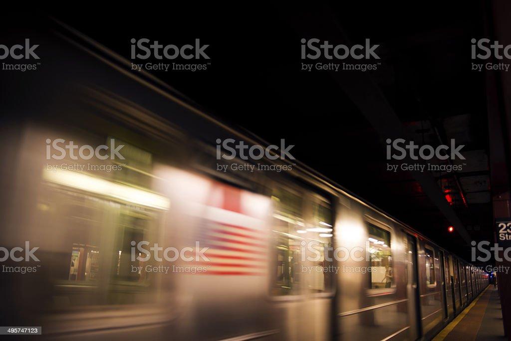 Passing subway train royalty-free stock photo
