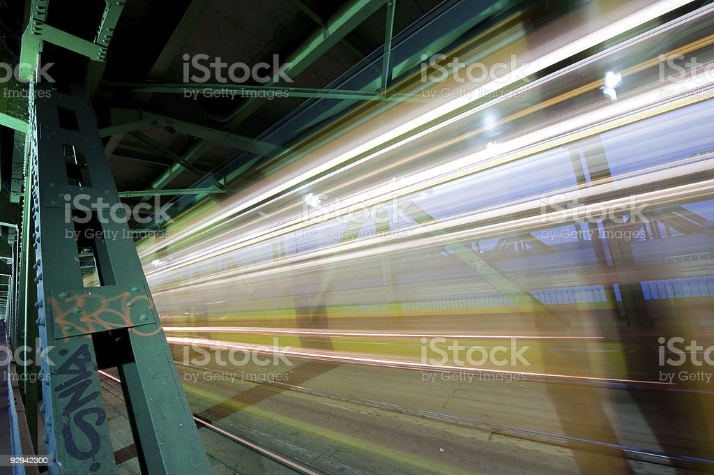 Passing trams on historic Gdanski Bridge stock photo