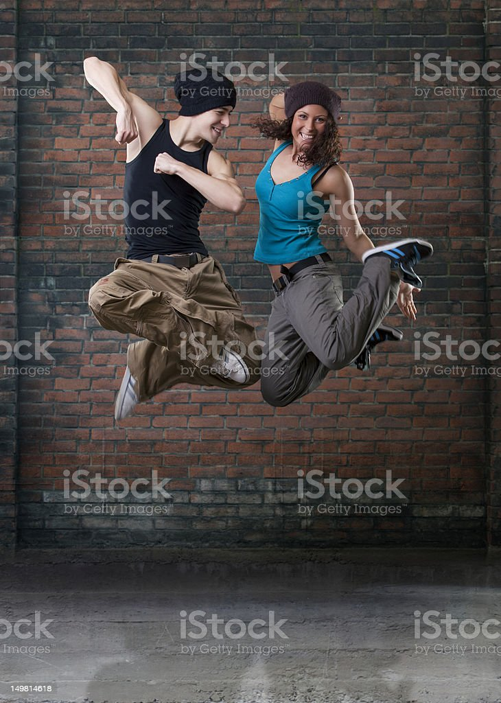 Passion dance couple jumping. stock photo