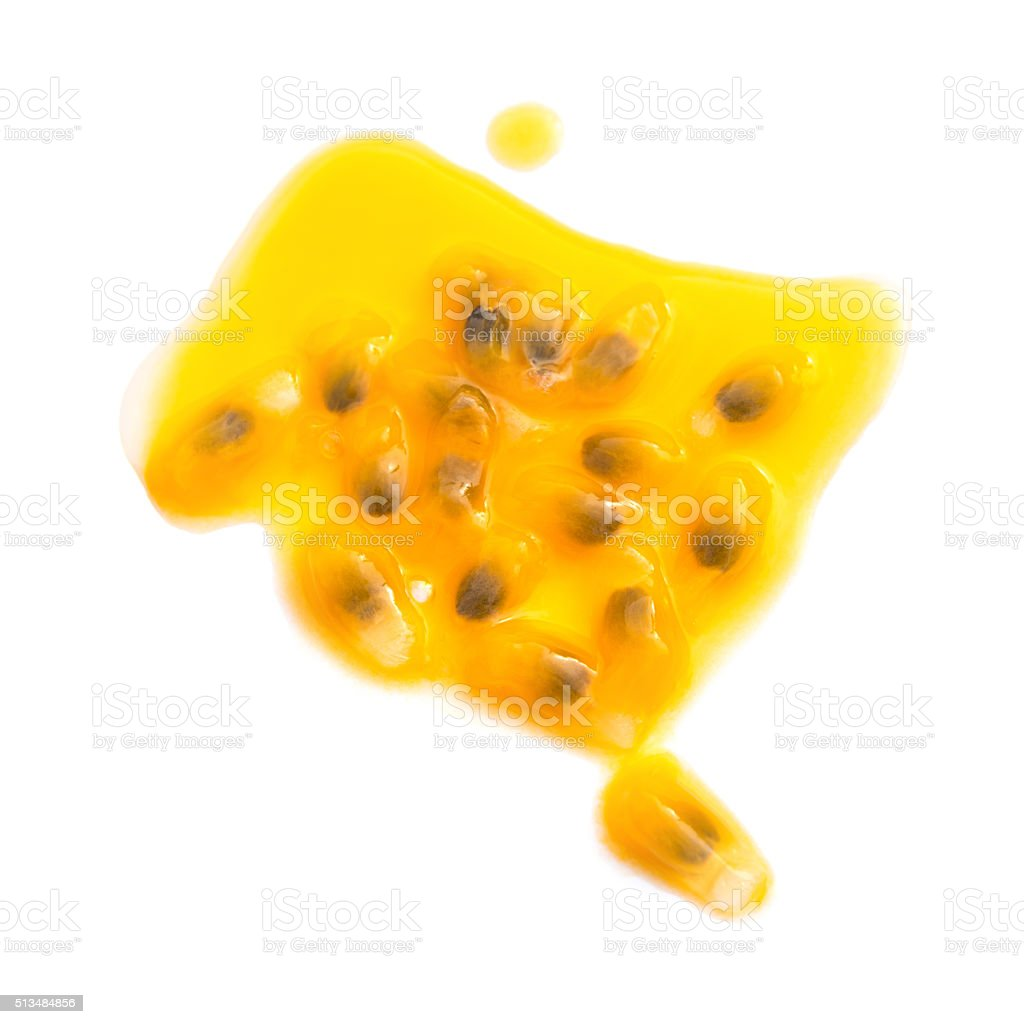 passion fruit cut out with some juice on white background stock photo