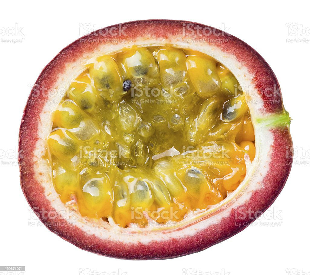 Passion fruit. Half isolated on white background stock photo