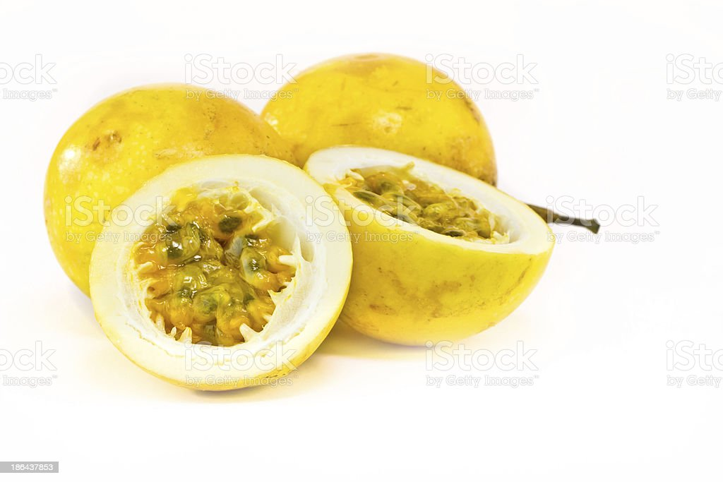 Passion fruit in both whole and cut in half  stock photo