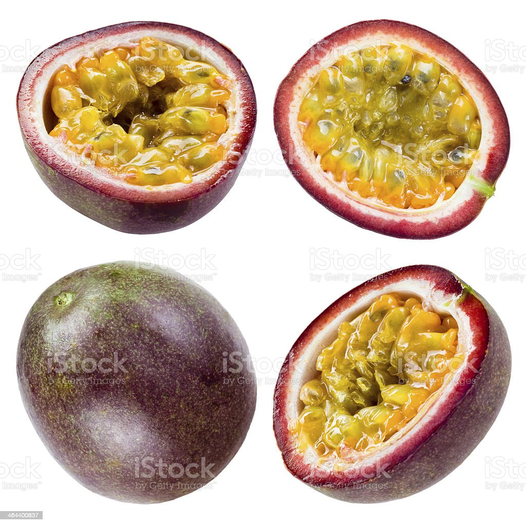 Passion fruit isolated on white background. Collection stock photo