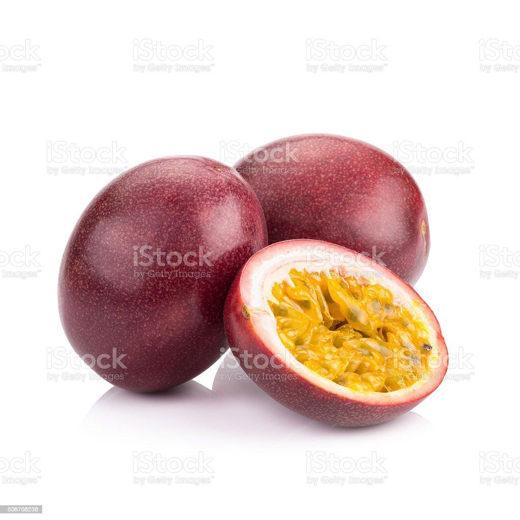 Passion fruit isolated on white background stock photo