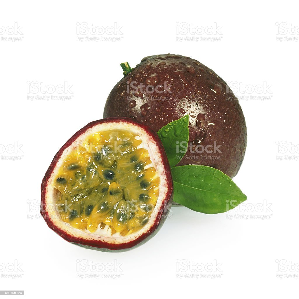 Passion Fruits + Leafs stock photo