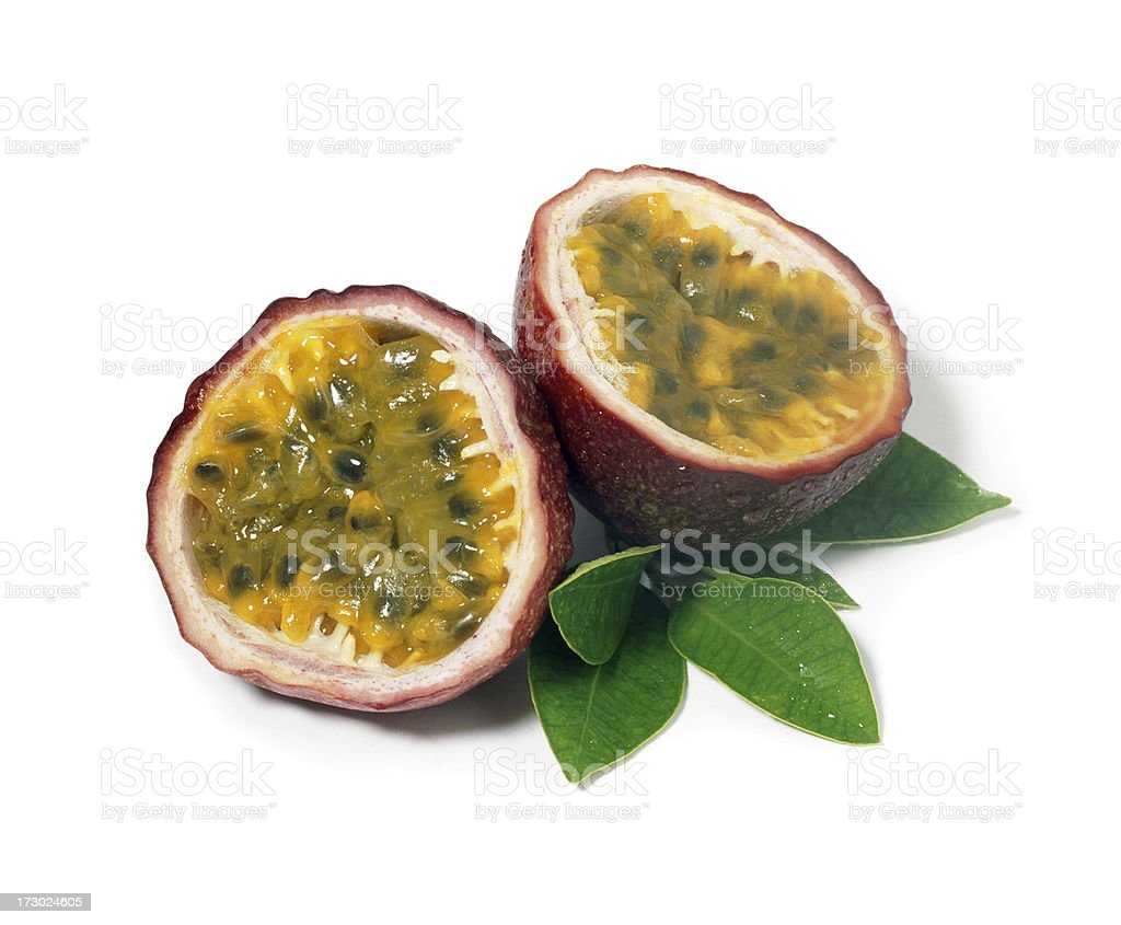Passion Fruits with Leafs stock photo
