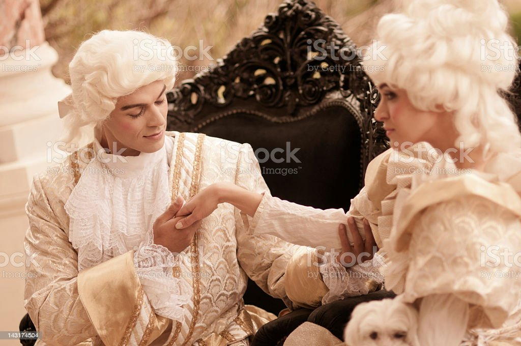 Passion in  Old French Costumes royalty-free stock photo