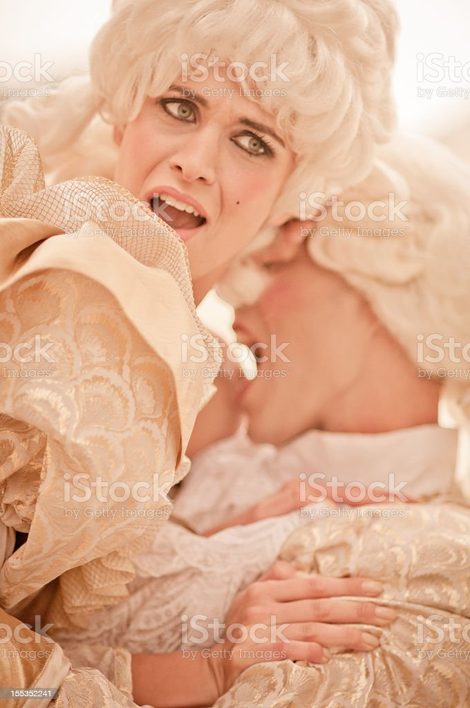 Passion in  Old French Costumes stock photo