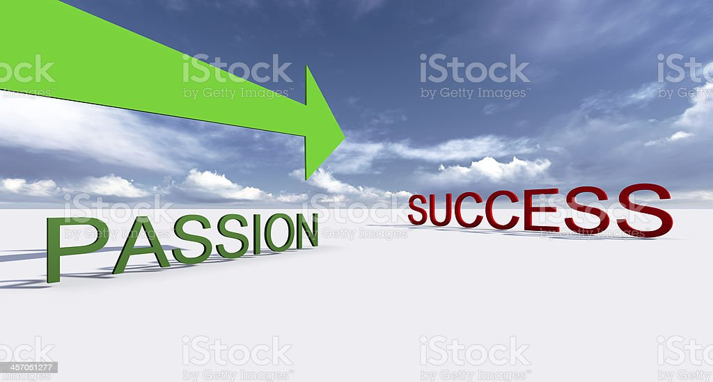 Passion with a green arrow pointing to red success stock photo